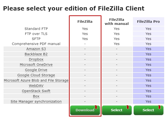 FileZillaのクライアントソフトを選択します