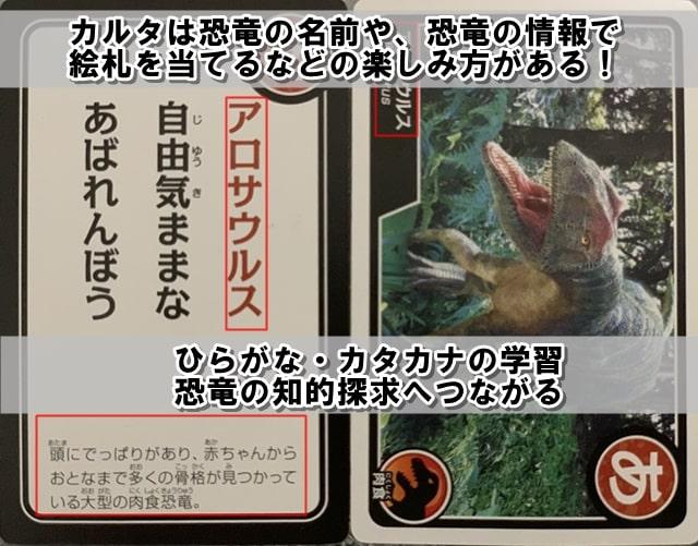 カルタはひらがな、カタカナの学習、恐竜への知的探求へつながることを説明する画像