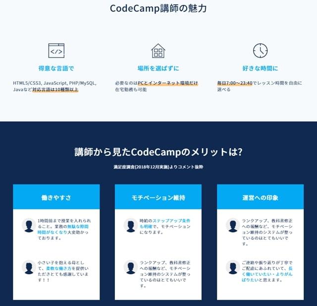 CodeCampは講師にとって働きやすい環境であることについての画像
