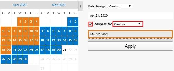 Compare to:にチェックを入れて、右のプルダウンメニュー内の「Custom」を選択する