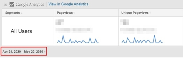 Page Analyticsのパネルの左下にある日付をクリック