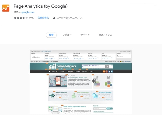 page analytics トップ画面