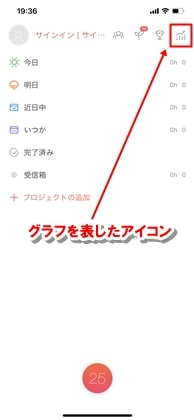 アプリを起動した初めの画面の上部にグラフを表したアイコンの画像