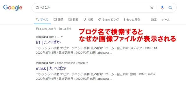 ブログ名で検索した結果、画像が最初に表示されてしまう