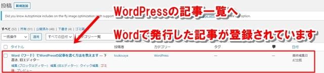 WordPressの記事一覧へ、Wordで発行した記事が登録されている画像