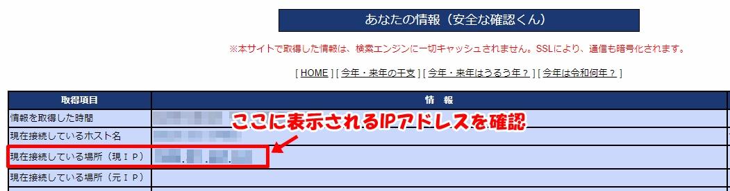 『安全な確認くん』サイトで『現在接続している場所(現IP)』に入力されている、自分のグローバルIPアドレスを確認する方法を説明した画像