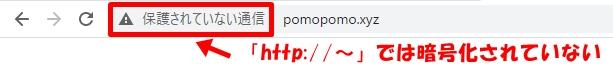 SSL設定が完了しても、「http://」で続くアドレスの場合、SSL設定が適用されていないことを説明する画像